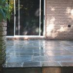 Cut blue stone patio