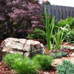 A boulder and other rocks add interest to a variety of plantings.