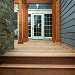 Ipe was used for these steps and elevated walkway, framed by posts and beams.